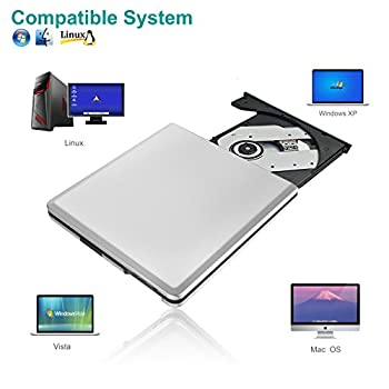Usb 3.0 External Cd Dvd Drive, Dansrue Portable Ultra-slim Cd-rw Dvd-rw Rewriter Burner Player For Laptop Desktops Apple Mac Macbook Pro Pc Windows Vista Linux (Silver A) 4