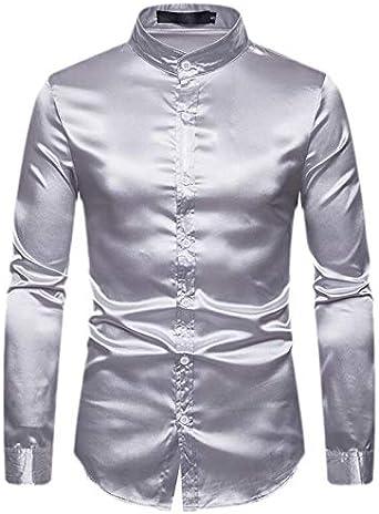 SOWTKSL - Camisa para Hombre (Botones de satén), Color ...