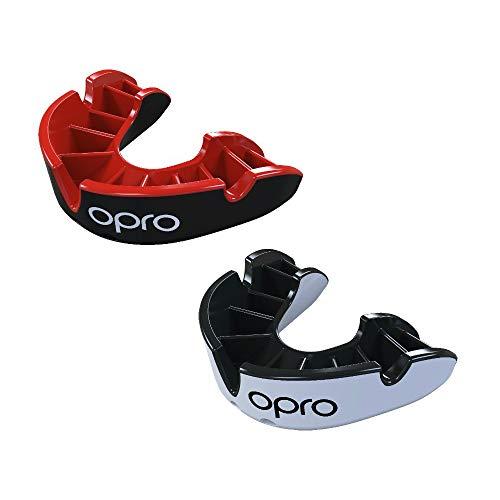 Protector bucal plateado OPRO | Protector de goma para rugby, hockey, lucha y otros deportes de combate y de contacto - Garantía dental de 18 meses (paquete doble (negro + blanco), juvenil)