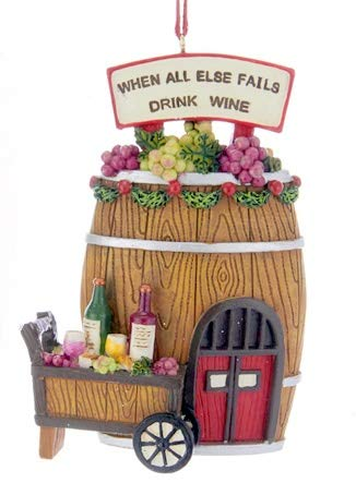 Wine Barrel -When All Else Fails Drink Wine Ornament