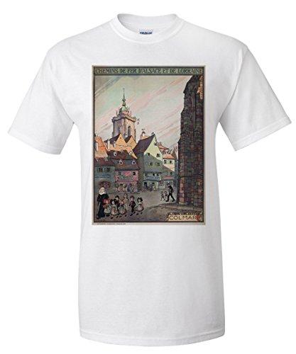 Colmar - Chemins de Fer d'Alsace et de Lorraine Vintage Poster (artist: Hansi) France c. 1921 (White T-Shirt (Alsace Wall)
