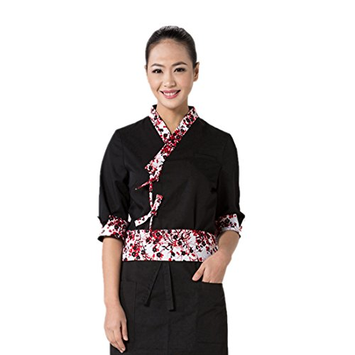 Japanese black sushi chef coat with flower pattern - Camo Chef Coat