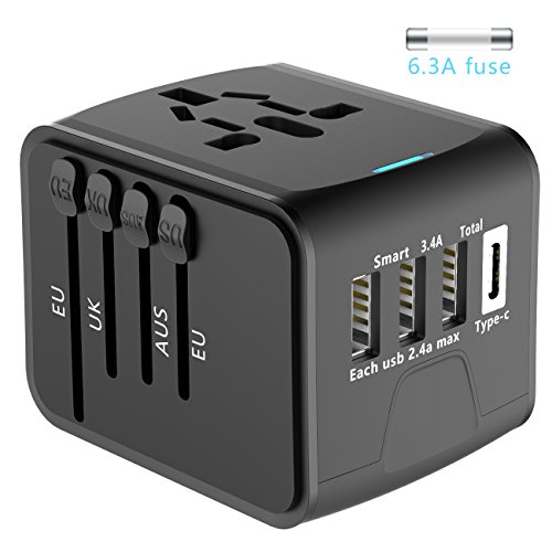 Price comparison product image Universal Travel Adapter, OSPORTFUN All-in-one International Power Adapter with 2.4A Dual USB, European Adapter Travel Power Adapter Wall Charger for UK, EU, AU, Asia Covers 150+Countries (Black)