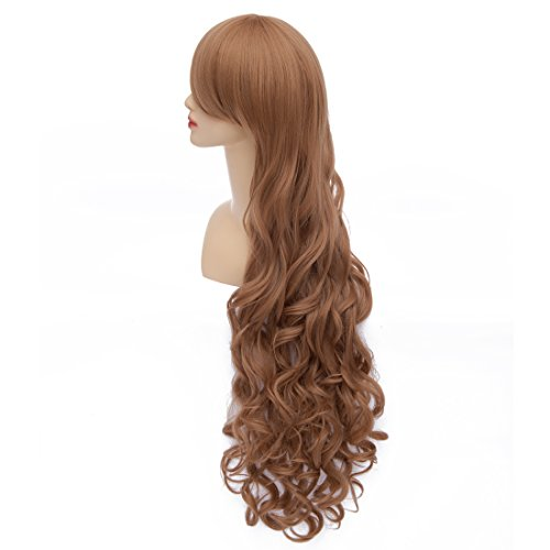 ICOSER Anime Cosplay Wigs for Women Brown Long Curly Synthetic Hair 90cm