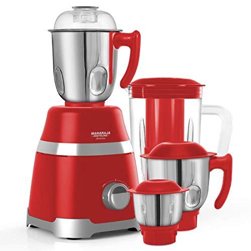 Maharaja Whiteline MX-222 Mixer Grinder, 800W, 3 Jar and 1 Juicer Jar (Red)