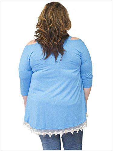 Cold Trapze paules Dnude Shirt Top Dnudes paule 3 Haut Plus Size T Shirt Blouse Chemise Chemisier Manches Dentelle Trim Shoulder 4 Bleu wqfqY8U