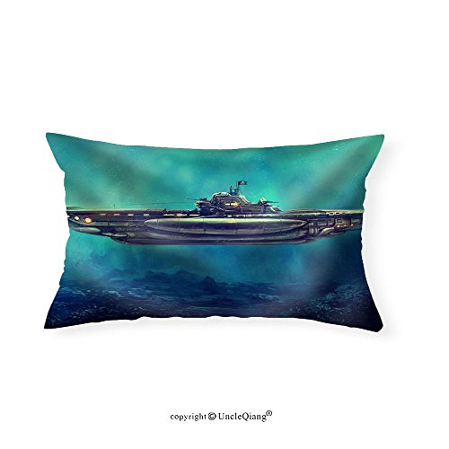 VROSELV Custom pillowcasesFantastic pirate submarine in the underwater environment. Digital art raster illustration. - Fabric Home Decor(20''x30'') by VROSELV