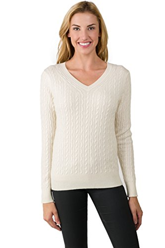 Cashmere Sweater Cable (J CASHMERE Women's 100% Cashmere Long Sleeve Pullover Cable-Knit V-Neck Sweater Cream Medium)