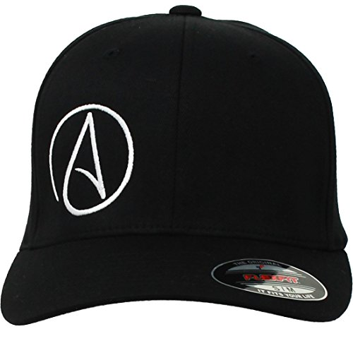 Atheist Offset Symbol Curved Bill Baseball Hat Flexfit-Black LG/XL