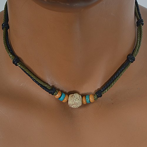 Men-Pendant-Bead-Hemp-Braid-Surfer-Choker-Necklace-Stylish-Tribal