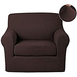 Turquoize Anti-Slip Jacquard 2-Piece Spandex Stretch Elastic Pet Dog Sofa Couch Cover Slipcover Arm-Chair Furniture Protector Shield (Chair-Chocolate)