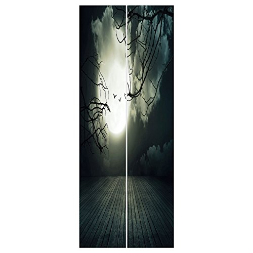 3d Door Wall Mural Wallpaper Stickers [ Halloween,Wooden Planks Floor with Leafless Branches and Blurred Full Moon Mysterious Decorative,Black Grey White ] Mural Door Wall Stickers Wallpaper Mural DIY ()
