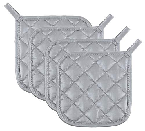 Pot Holders Cotton Made Machine Washable Heat Resistant Coaster Pot Holder for Cooking and Baking (4, Silver)