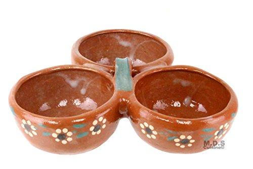 Salsero de Barro 3 in 1 Salsa Bowls Traditional Lead Free Clay Artisan Artezenia Molcajete Mexican