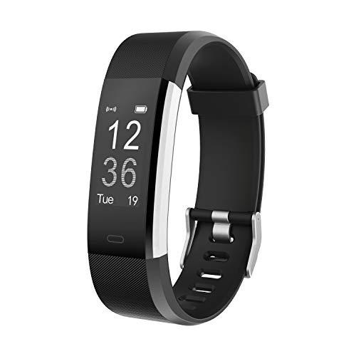 moreFit Fitness Tracker, Slim HR Plus Heart Rate Smart Bracelet Pedometer Wearable Waterproof Activity Tracker Watch, Silver/Black