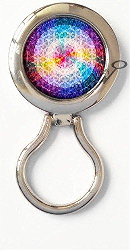 BlackKey Flower Of Life Magnetic Metal Eyeglass Badge Holder, Eye Glass Holding Brooch -519