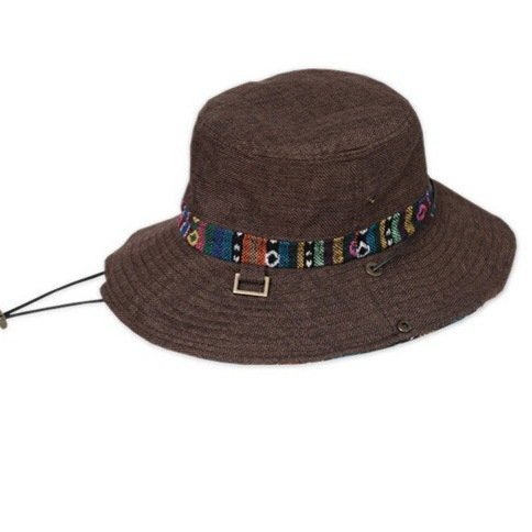 JIA&YOU New linen blend fisherman Hat Cap Sun Hat embroidery flowers striped dome shade hat factory outlet