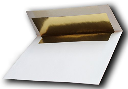 Gold Foil-Lined A2 White Envelopes 25 Pack for 4-1/8 X 5-1/2 Wedding Enclosures Response Cards from The Envelope Gallery