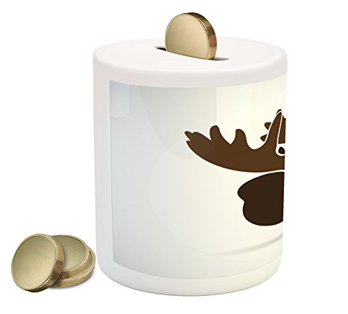 (Ambesonne Moose Piggy Bank, Deer Head Canadian Sacred Northern Wilderness Mammals Hunting Graphic, Printed Ceramic Coin Bank Money Box for Cash Saving, Army Green Green Brown)
