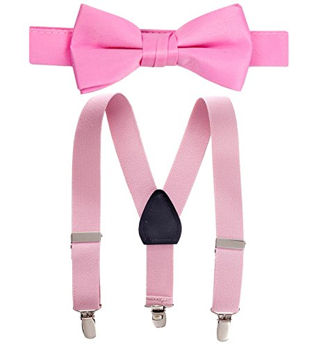 Big Tie - Hold'Em Suspender and Bow Tie Set for Kids, Boys, and Baby - Proudly Made in USA - Extra Sturdy Polished Silver Metal Clips, Pre tied Bow Tie-Light Pink 30