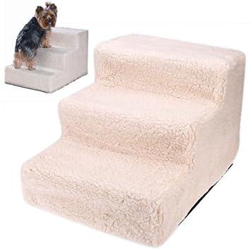 Las escaleras de mascotas para perros pequeños gatos beige de moqueta Sofá cama para mascotas Seguridad peldaños de la escalera: Amazon.es: Hogar