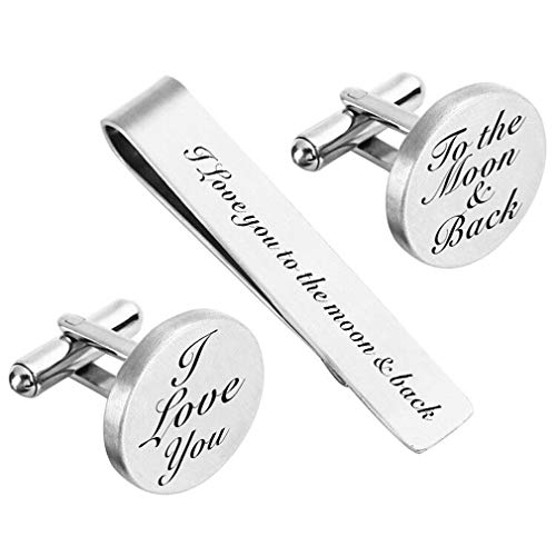 ZUNON I Love You to The Moon & Back Cufflinks Wedding Engraved Groom Husband Boyfriend Best Man Tie Clip Tack Bar (I Love You) (Best Man Gift Ideas From Groom)