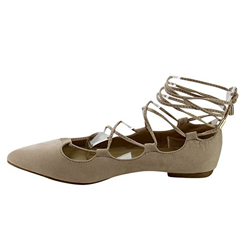Beston Db52 Dames Strappy Lace Up Uitgesneden Gladiator Ballet Flats Beige