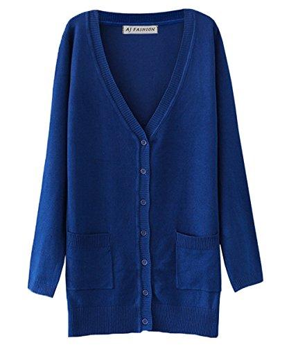 Aj V con Button Cardigan a Maglione in blu Down maniche scollo Women Fashion a lunghe maglia zYxfrz