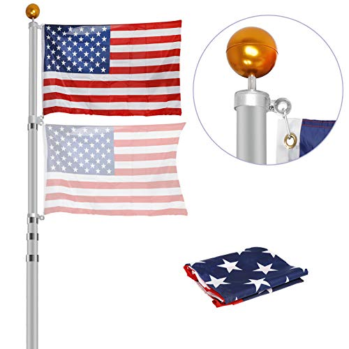 ZENY 16ft 20ft 25ft Aluminum Telescopic Flag Pole 3'x5' US American Flag Kit Hardware Fly Up 2 Flags Outdoor Garden Halyard Pole Inground Telescoping Flagpole (20 ft Telescoping) (Kit Flag American)
