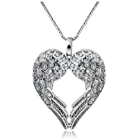 Phonphisai shop Women Chic 925 Silver Sterling Fashion Angel Wing Pendant Necklace Jewlery love