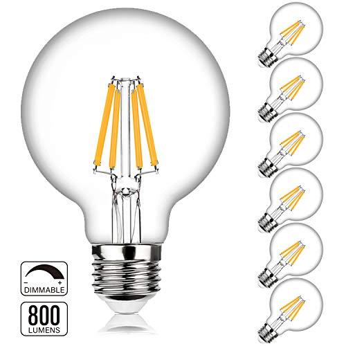 LED Globe G25 Dimmable Edison Light Bulbs 60W-75W Equivalent, 800Lm Super Bright, 2700K Warm White, E26 Medium Screw Base, 7Watt Omnidirectional Bathroom Vanity Mirror Light, 6-Pack