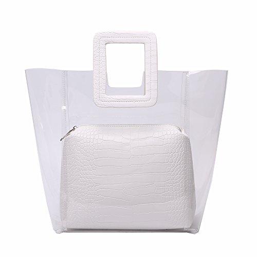 Jollque 2018 New Clear PVC Handbag Large Tote (White) ()