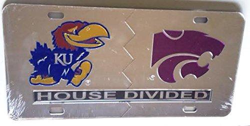 Kansas Jayhawks - KSU Kansas State Wildcats - House Divided Mirrored Car Tag License (Ksu Car)