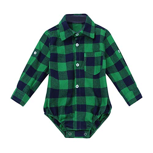 iEFiEL Toddler Boys Plaid Long Sleeve Button-up Bodysuit Formal Dress Shirt Baby Gentleman Romper Wedding Party Outfits Green 24 Months