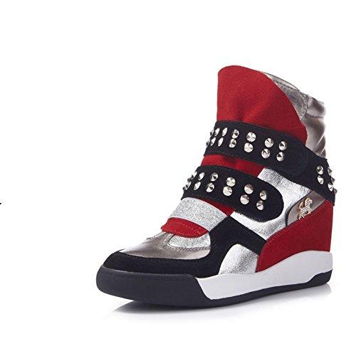botas de deporte Coreano primavera y otoño/Zapatos de mujer/Zapatos de marea/Zapatos ocasionales alto invisibles/ los zapatos mágicos/ remache alta ayuda zapatos A