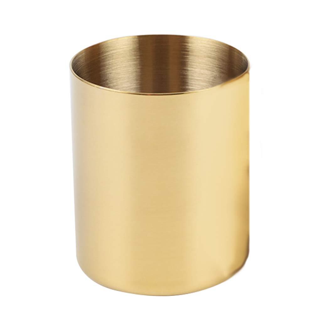 Zerama Golden Flower Vase Metal Round Pen Brush Holder Cup Container Desktop Organizer Home Decoration