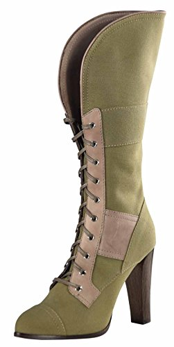 Reed Krakoff Women's Military Fold Over Boots-Moss/Taupe-37.5(7.5 M US)