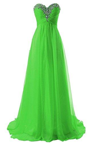 Longues Robes De Demoiselle D'honneur Perles Des Femmes De Mariée Anna Robes De Soirée Verte