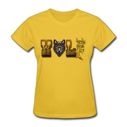 [Home Women Wolf 100% Cotton Short Sleeve T-Shirt Yellow S Design Your Own Costume] (Johnny Depp Wolf Costume)