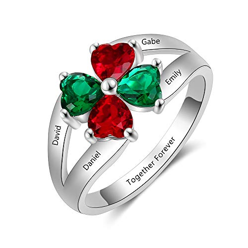 Mothers Ring Birthstone Mom - MadisonAva Personalized Jewelry for Moms Family Promise Rings with 4 Simulated Birthstone Rings for Mothers Custom Nana Jewelry (#1, 7)