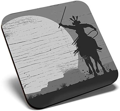 Gran posavasos cuadrado BW – Guerrero Samurai en caballo | Posavasos de calidad brillante | Protección de mesa para cualquier tipo de mesa #35600