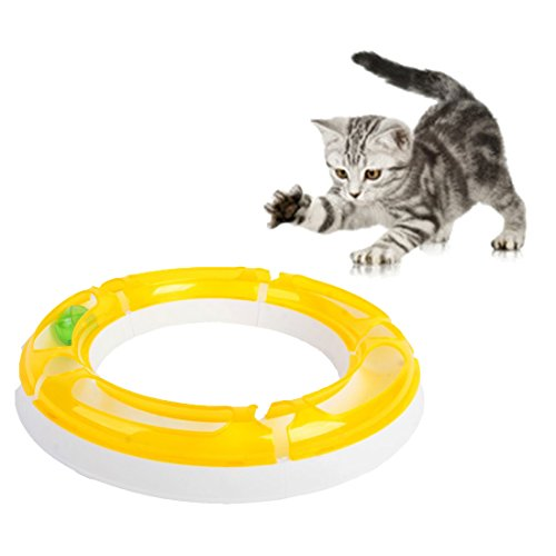 all Track Toy Set Design Sense Roller Circuit Toy For Cats/Kitten, Detachable and Assemble DIY Shape for your Favorite Kittens, Puzzle Games and Race Track (Yellow) ()