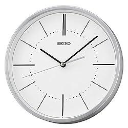 Seiko QXA715S Analogue Display Aluminium Wall Clock - Silver with White Dial