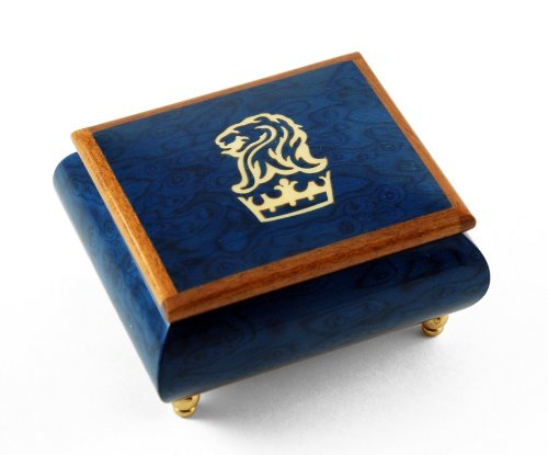 - Iconic Royal Blue Lion and Crown Inlay Music Box - Ma'oz Tzur, Rock of Ages (Jewish Version)