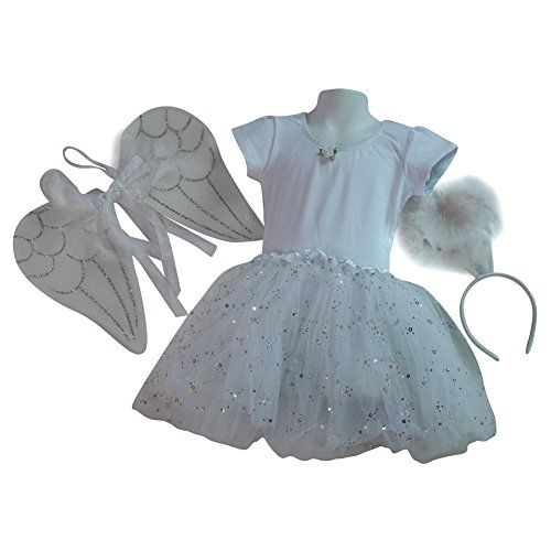 Girls Angel Costume Set - White Tutu, Angel