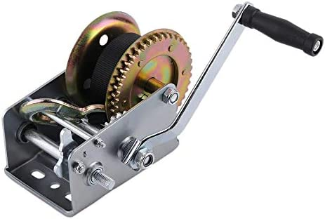 2500lbs Hand Winch With 6m Strap Hand Crank Gear Winch With Automatic Brake Auto Manual Winch for ATV Boat Trailer