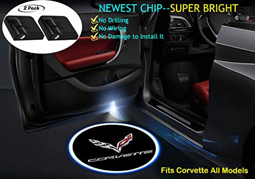 2Pcs For Corvette Door Lights Logo Wireless Ghost Shadow Lights, Wireless Led Car Door Projector Lights Logo Welcome Courtesy Lights for Corvette Car Modify (Best Gifts For Corvette Lovers)