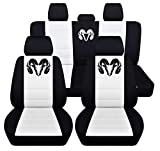Fits 2012 to 2018 Dodge Ram Front and Rear Ram Seat Covers 22 Color Options (40-60 Rear with Armest, Black White)