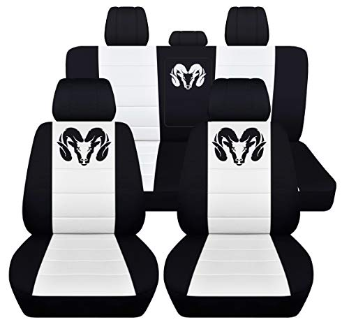 Fits 2012 to 2018 Dodge Ram Front and Rear Ram Seat Covers 22 Color Options (40-60 Rear with Armest, Black White) by Designcovers (Image #1)