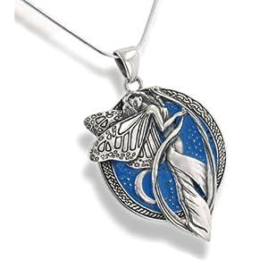 Sterling Silver Sky Blue Moonlight Fairy Celtic Art Pendant 18 Snake Necklace